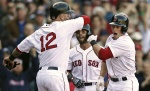 Daniel Nava, Mike Napoli, Dustin Pedroia (photo credit: WEEI)