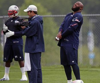 DT Tommy Kelly catching a laugh during OTA's