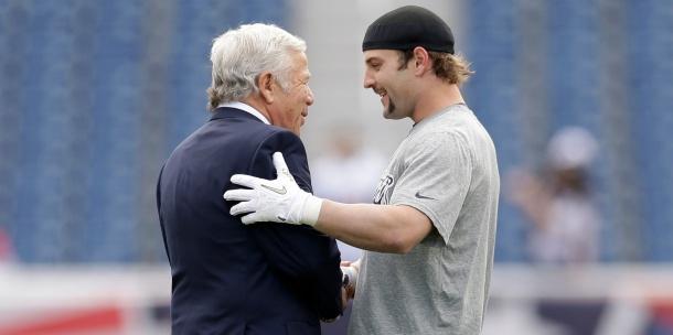 Wes Welker and Patriots owner Robert Kraft sharing a moment together.