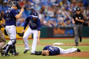 Scary moment in this game in the 5th inning, as Alex Cobb was struck in the head by a line drive. Rays still manage to beat the Royals 5-3.