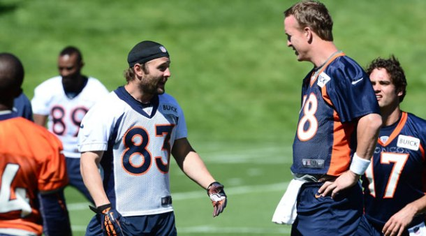 Wes Welker nd and his new HOF quarterback Peyton Manning @ Broncos OTA's