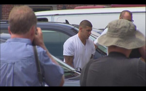 Aaron Hernandez arriving at court.