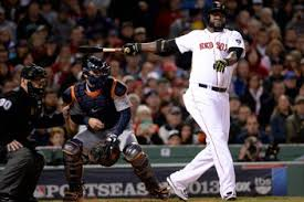 David Ortiz tracks the flight of his line-drive home run - a game-tying grand slam in the eighth inning.